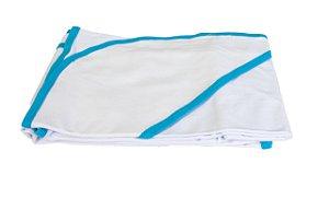 Toalha de banho para bebês, com borda Azul