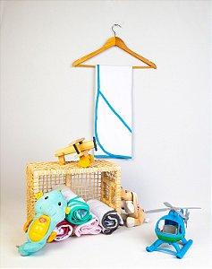 Toalha  de banho para bebês, bordas coloridas