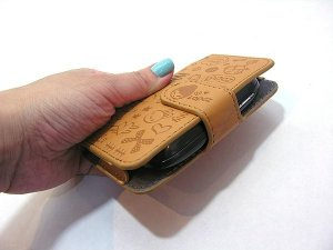 Case para smartphone / gadget feminino de couro sintético