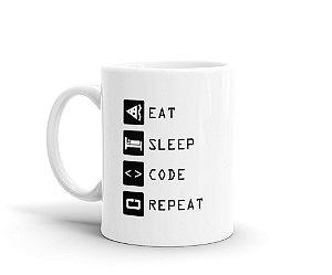 Caneca Code Eat Sleep Repeat