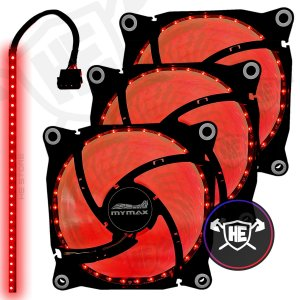 3 Coolers Fan Vermelho 32 Leds 120mm Gabinete Pc Gamer + Fita Led Pro