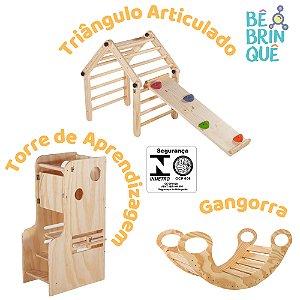 Kit: Torre de Aprendizagem + Triângulo Articulado com Rampa de Escalada + Gangorra Natural