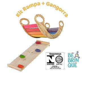 Kit Gangorra de Balanço Colorida + Rampa de escalada e escorregar