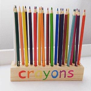 Porta lápis crayons em madeira