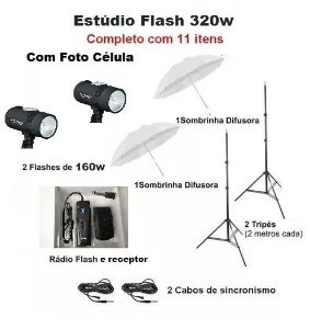 Estúdio Fotográfico Kit Tocha Flash 127v - 320w