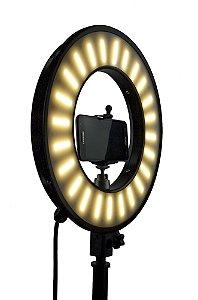 Ring  Light 33 cm de diâmetro - Iluminador Refletor 50w - Com Suporte para Celular- 3 cores - Foto Make up