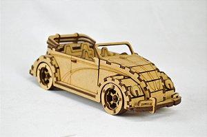 Carrinho Volkswagen Cabriolet Conversível - Quebra Cabeça 3D Para Montar e Pintar em MDF Cru