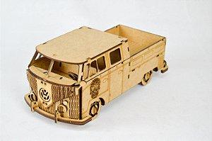 Carrinho Kombi VW - Quebra Cabeça 45 Peças Para Montar e Pintar em MDF Cru