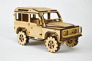 Carrinho Land Rover Defender - Quebra Cabeça 133 Peças Para Montar e Pintar em MDF Cru