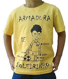 """Camiseta Infantil - Amarela - """"ARMADURA DE BOLEIRINHO"""""""