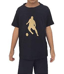 Camiseta Infantil - Preta com Logo Dourado
