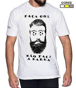 Camiseta Masculina Faça Gol Não Faça Barba Estilo Boleiro