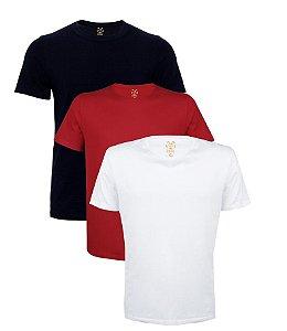 Kit com 3 Camisetas Masculinas Basicas Estilo Boleiro sortidas