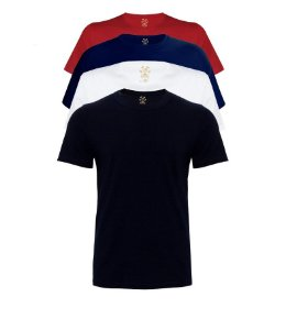 Kit com 4 Camisetas Masculinas Basicas Estilo Boleiro sortidas