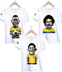 Camiseta Craques da Seleção Brasileira Caricatura Divertida