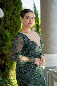 Vestido De Festa Longo Cleucy Verde Bordado Aluguel