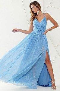 Vestido De Festa Longo Liso Lurex Electra Azul Serenity Aluguel