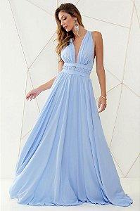 Vestido De Festa Longo Liso Azul Serenity Mariah Aluguel