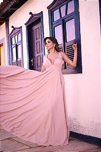 Vestido Longo De Festa Junia Rosa Aluguel