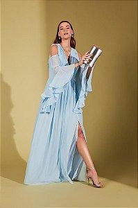 Vestido De Festa Longo Liso Fluido Linete  Azul Aluguel