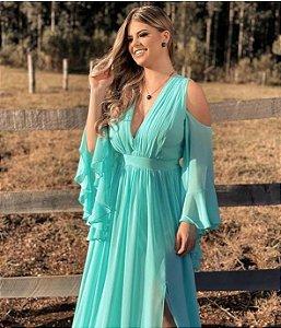 Vestido De Festa Longo Liso Fluido Linete Tiffany Aluguel