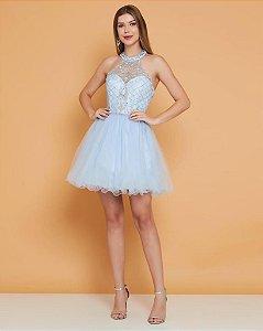 Vestido De Festa Curto Debutante Azul Sabrina Aluguel