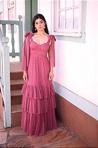 Vestido De Festa Longo Rosé Gold Grace Kely Aluguel