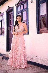 Vestido De Festa Longo  Rosa Bordado Priscila Aluguel