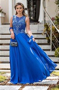 Vestido Longo De Festa Azul Royal Jane Aluguel