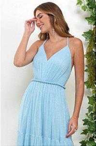 Vestido De Festa Longo Azul Lore Aluguel