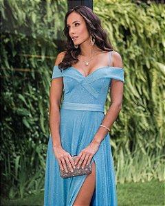 Vestido De Festa Longo Azul Evita Aluguel