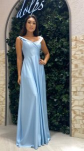 Vestido De Festa Longo Liso Azul Perla Aluguel