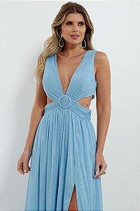 Vestido De Festa Longo Lurex Azul Serenity Lorena Aluguel