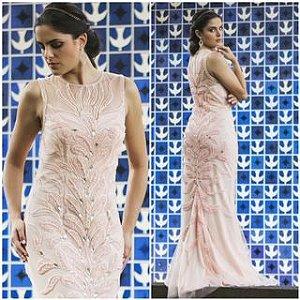 Vestido de Festa Rose Longo Bordado Isadora Aluguel