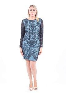 1507-Vestido Azul Curto Michelle