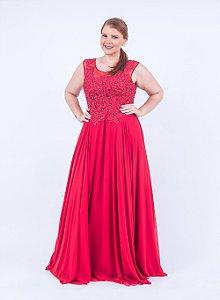 Vestido de Festa Plus Size Vermelho Longo Renda Mirna Aluguel