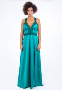 Vestido de Festa Verde Longo Decote Liso Fenda Susana