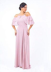 Vestido de Festa Rosé Longo Liso Renata Aluguel