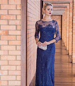 899-Vestido Azul longo Safira