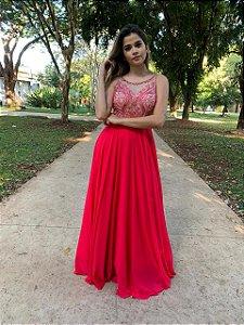 Vestido de Festa Coral Longo Bordado no Busto Liso Karen Aluguel