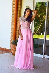 Vestido de Festa Rosa Longo Bordado Valentina Aluguel