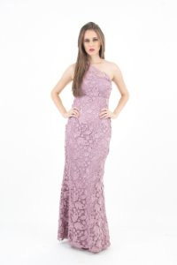 Vestido de Festa Rosa Antigo Longo Decote Ombro só Renda Helena