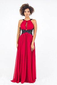 Vestido de Festa Vermelho Longo Liso Catarina Aluguel