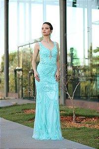 Vestido de Festa Verde Tiffany Longo Sereia Decote Tule Bordado Afrodite