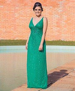 Vestido de Festa Verde Longo Decote Bordado Julia Aluguel