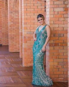 Vestido de Festa Verde Longo Sereia Decote Bordado Anabel Aluguel