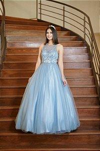 Vestido de Festa Debutante Azul Serenity Ingrid Aluguel