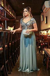Vestido de Festa Azul Serenity Longo Manga Curta Bordado Alana Aluguel