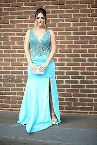 Vestido de Festa Azul Longo Sereia Decote Bordado Ariela