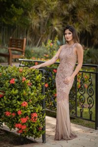 Vestido de Festa Rosa Antigo Longo Bordado Sofia Loren Aluguel